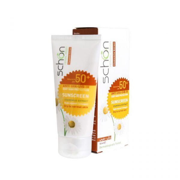 کرم ضد آفتاب شون مناسب پوست خشک تا نرمال با SPF50 حجم 50 میلی لیتر - رنگ طبیعی