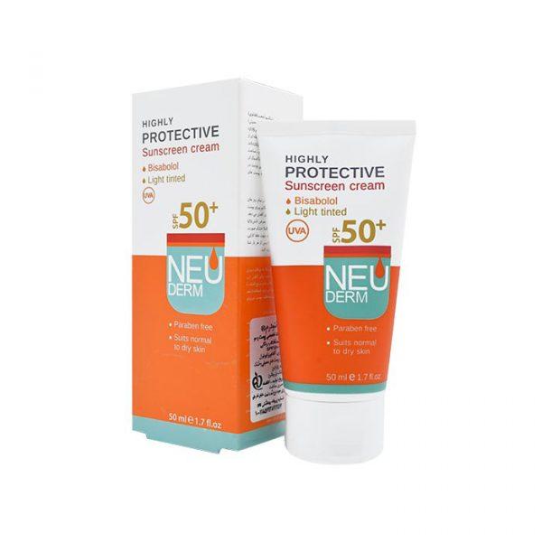 کرم ضد آفتاب نئودرم مناسب پوست های خشک و نرمال با +SPF50 حجم 50 میلی لیتر - بژ روشن