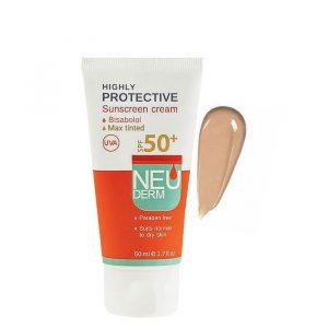 کرم ضد آفتاب نئودرم مناسب پوست های خشک و نرمال با +SPF50 حجم 50 میل - بژ تیره