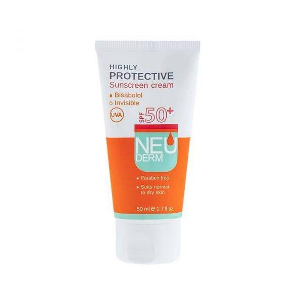 کرم ضد آفتاب نئودرم مناسب پوست های خشک و نرمال با +SPF50 حجم 50 میلی لیتر - بدون رنگ