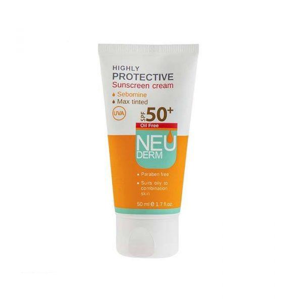 کرم ضد آفتاب فاقد چربی نئودرم با +SPF50 حجم 50 میل - بژ تیره