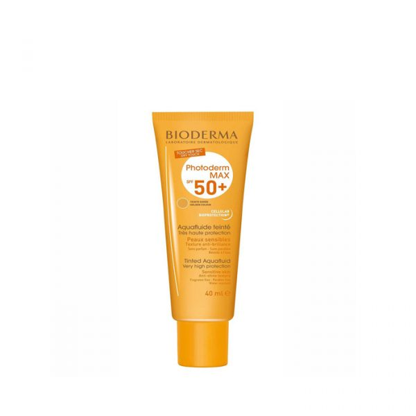 ضد آفتاب مناسب پوست های چرب و مختلط بایودرما  SPF 50 مدل Photoderm Max Aquafluid - بژ طلایی
