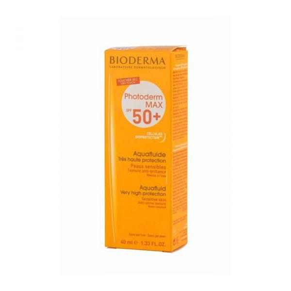 ضد آفتاب بی رنگ بایودرما مناسب پوست های چرب و مختلط  SPF50 مدل Photoderm Max Aquafluid حجم 40 میلی لیتر