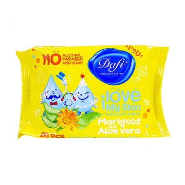 دستمال مرطوب پاک کننده کودک دافی مدل آلوورا و مری گلد