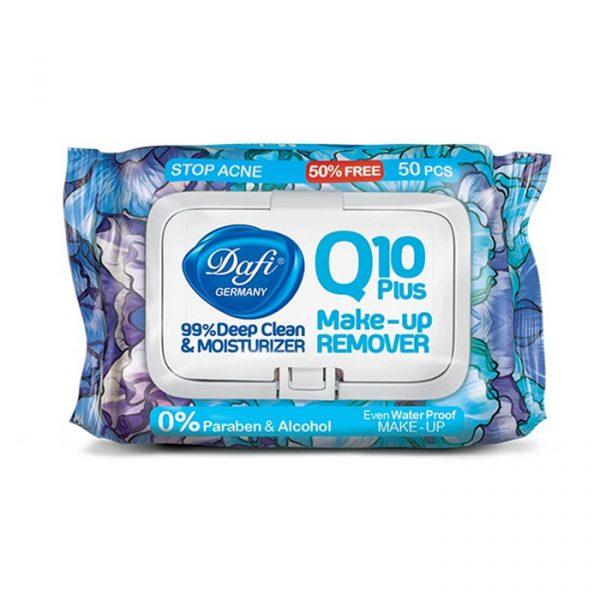دستمال مرطوب پاک کننده آرایش Q10 دافی طرح گل آبی