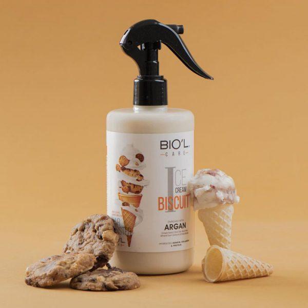 اسپری تقویت کننده و مرطوب کننده مو بیول حاوی عصاره بستنی بیسکوییتی حجم 400 میلی لیتر