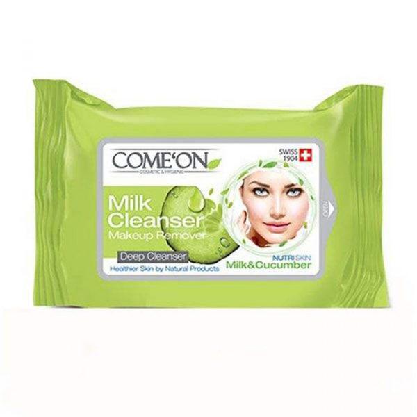 دستمال مرطوب کامان مدل شیر پاک کن 20 عددی