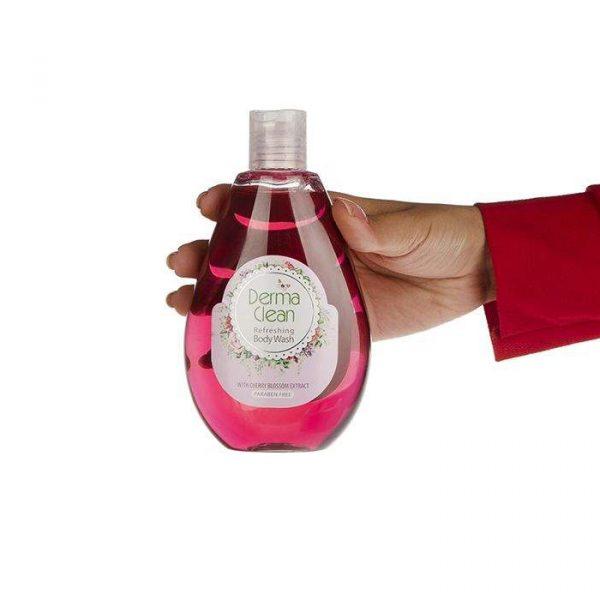 شامپو بدن درماکلين مناسب بانوان با عصاره شکوفه گيلاس حجم 300 میلی لیتر