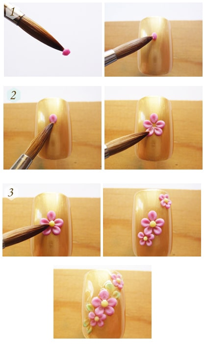 طراحی گل برجسته روی ناخن