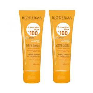 پک دو عددی کرم ضد آفتاب بژ روشن بایودرما مناسب پوست های نرمال تا خشک Photoderm MAX Cream SPF 100 حجم 40 میلی لیتر