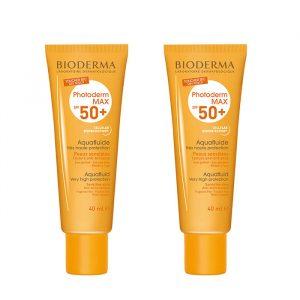 پک دو عددی ضد آفتاب بی رنگ بایودرما مناسب پوست های چرب و مختلط  SPF50 مدل Photoderm Max Aquafluid