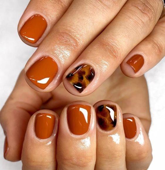 مدل ناخن نارنجی پاییزی