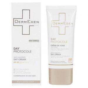 كرم ضد لک و ضد چروک SPF 50 درمدن مناسب پوست چرب حجم 50 میلی لیتر - بی رنگ