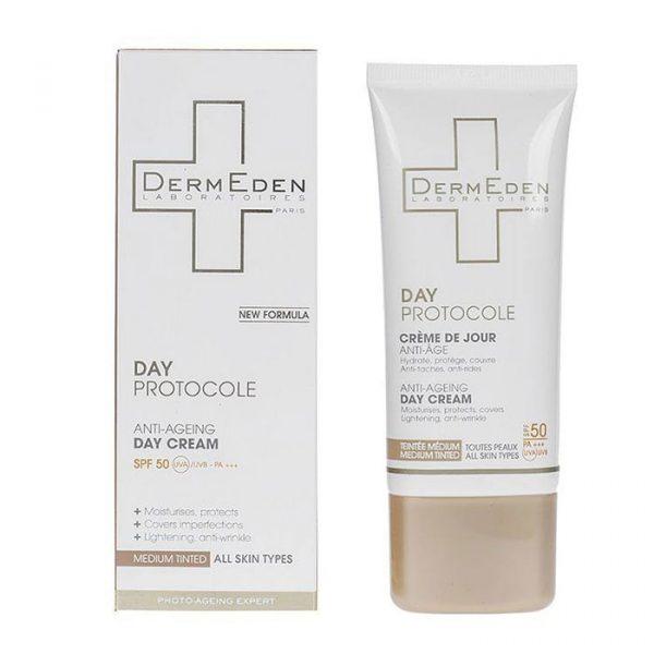کرم ضد آفتاب و ضد چروک رنگی درمدن سری Day Protocole Spf50 حجم 50 میلی لیتر