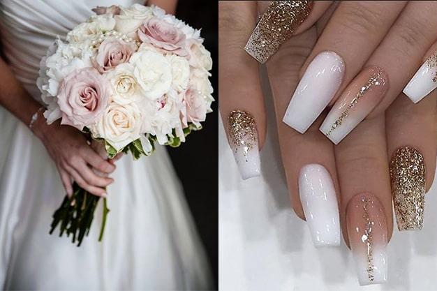 ست کردن طراحی ناخن عروس با دسته گل