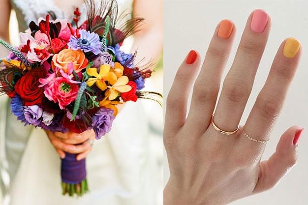 مدل رنگین کمانی برای ناخن عروس